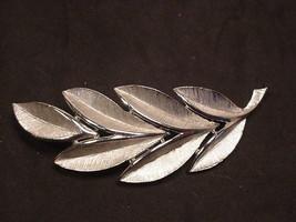 Trifari Crown Mark Pin Vintage Silver Tone Leaf  Brooch  - $14.80