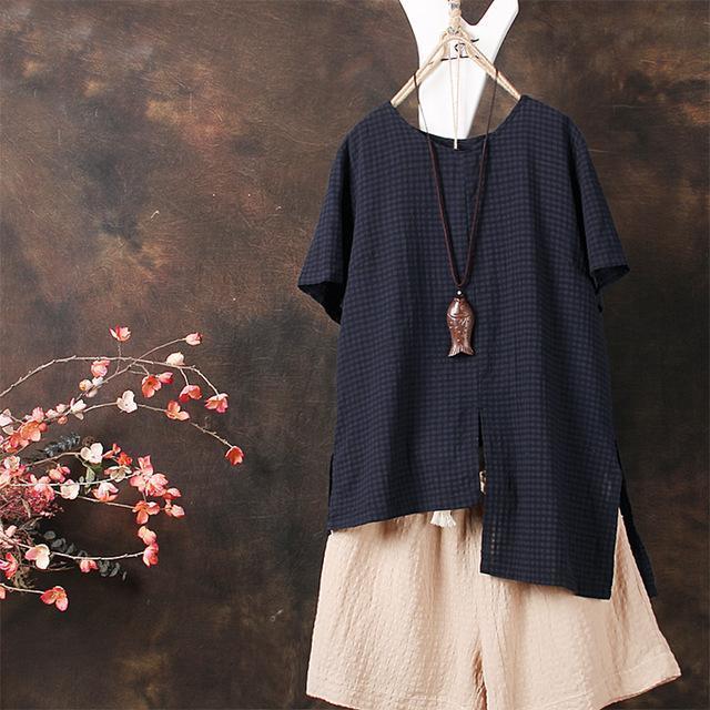 Plus Size ZANZEA 2018 Summer Women Plaid Blouse Short Sleeve Shirt Irregular Spl