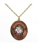 Large Antique Goldstone Mosaic Pietra Dura Pendant Gold-Filled Chain Nec... - $42.99