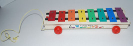 Fisher Price Pull A Tune Xylophone Wood Toy Rolls Musical Instrument 870... - $24.70