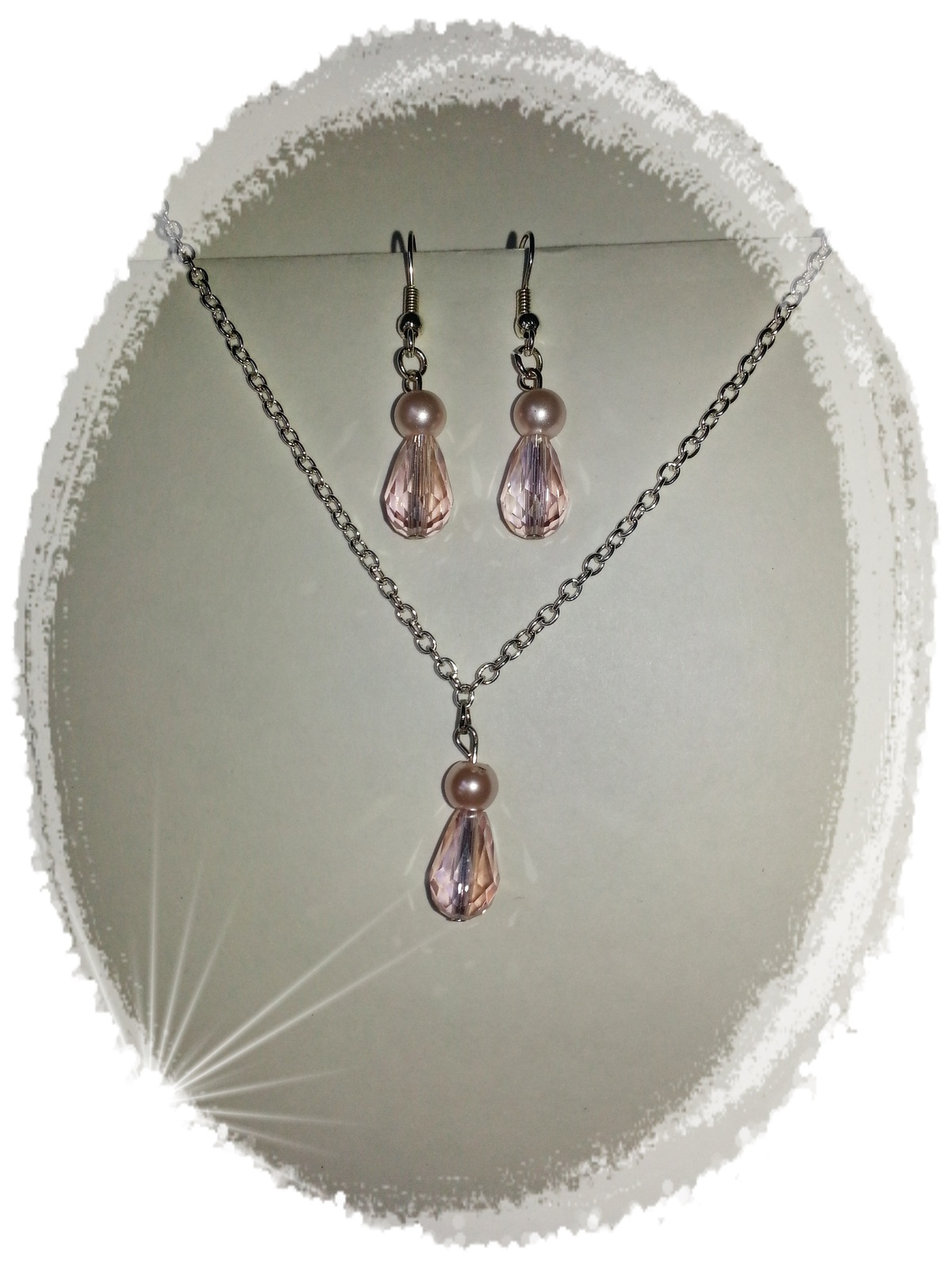 Primary image for Necklace Earrings Pink Crystal Pearl Silver Pierced NickleFree Handcrafted Set