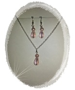 Necklace Earrings Pink Crystal Pearl Silver Pierced NickleFree Handcraft... - $20.00
