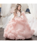 New Flower Girl Dresses Long Sleeve Lace Applique Wedding Girls Gown  - $99.00