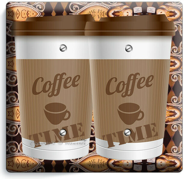 COFFEE TIME PAPER CUP LIGHT SWITCH OUTLET PLATE ROOM KITCHEN CAFE SHOP ART DECOR image 9