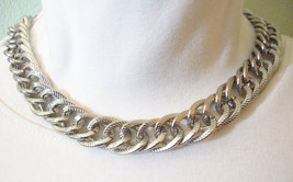 Scored Silver Plate Double CURB LINK CHAIN Necklace Vintage Estate Career - $15.83