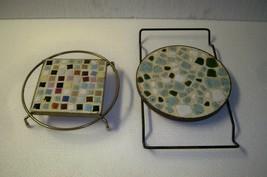 Vintage Pair of  50's 60's Mosaic Tile Trivets - $18.37