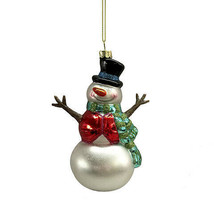 Darice Christmas Glass Ornament: Snowman, 4 x 5.5 inches w - $9.99