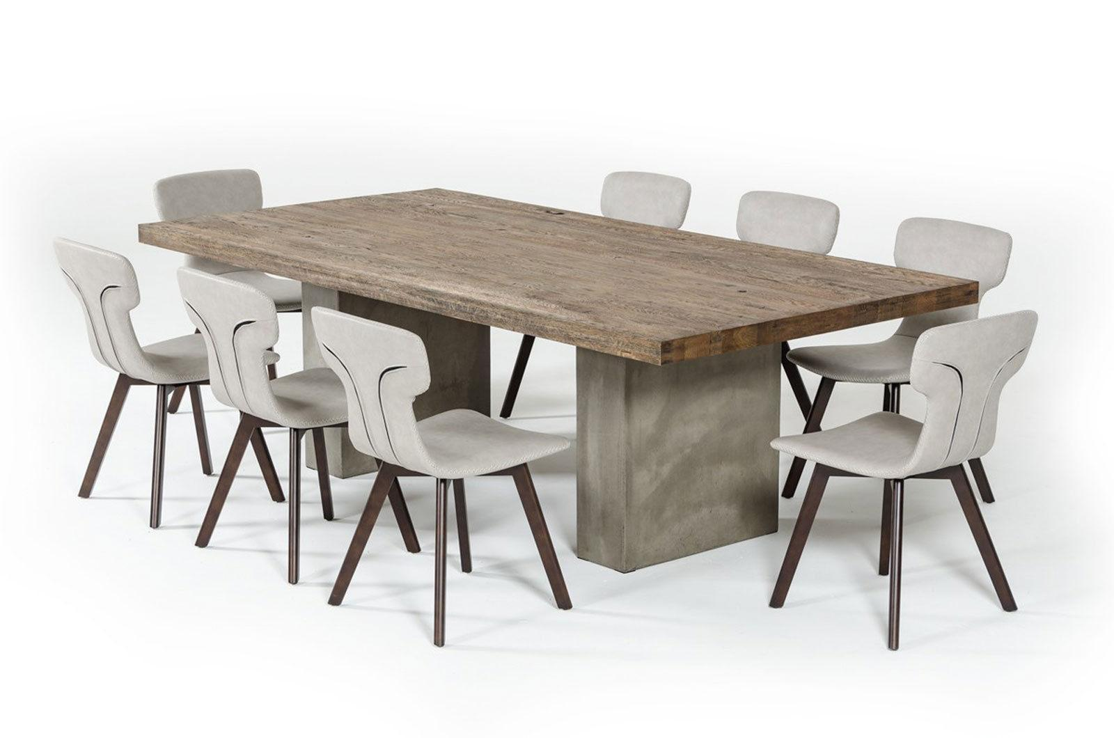 STANLEY 9 Pieces Dining Room Rectangular Brown Table U0026 Gray Leather Chairs  Set   $3,401.86