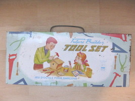 Vintage Future Builder empty Play Tool Set Tin Box Childs Toybox No. 177 - $30.51