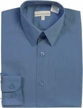 Boy's Classic Fit Long Sleeve Button Down Toddler Kids Blue Dress Shirt 12