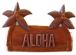 "Hawaii Aloha Palm Tree 14"" L X 7"" W Monkeypod Wood Decorative Wall Plaque - $56.70"