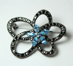 Givenchy Brooch, Blue and Black Flower, Floral, Loops, Gun Metal Setting... - $22.00