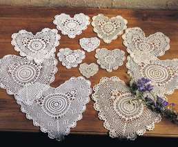 Handmade All-over Tatting Lace Heart Doilies, 4-piece, 2 Colors - $3.99+