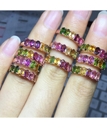 Gemstone Tourmaline 925 Silver Rose Gold Plated Rings - $35.00