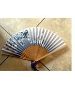 Womens Hand Silk Folding Fan Elegant Modern Hand Fan Bamboo Frame Gifts - $6.88