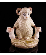 Aries new mom baby figurine - Vintage Ram and baby lambs - handpainted l... - $45.00