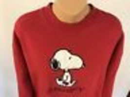 Vintage Snoopy Sweatshirt L Red Embroidered Peanuts Lee USA Charlie Collectible image 4
