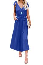 Blue Bowknot Shoulder Straps Jersey Dress with Belt - $28.35