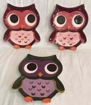 Mesa Home Owl Shaped Dessert Canapé Set Of 3 Plates Green Purple Burgundy - $20.78