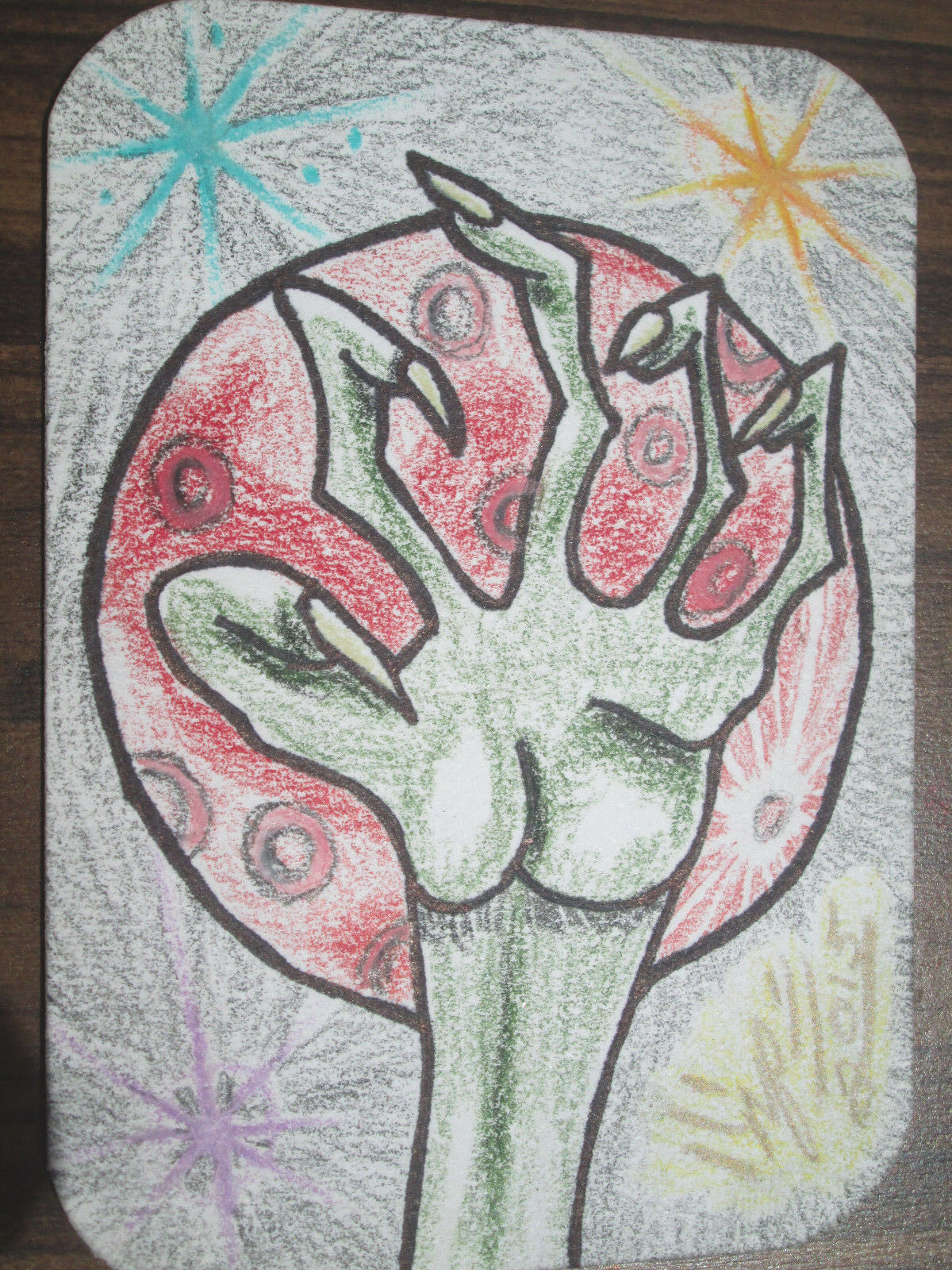 ACEO Original Art Card Alien Near Red Planet Signed by Artist ATC Trading Card