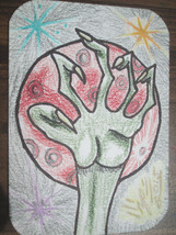 ACEO Original Art Card Alien Near Red Planet Signed by Artist ATC Trading Card image 1