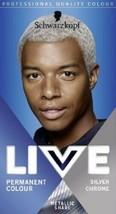 Schwarzkopf Live Hair Dye Permanent Hair Colour Men SILVER CHROME U71 - $14.89