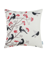 "CaliTime Throw Pillow Cover Chickadees Birds Red Floral Tree 18""X18"" Bla... - £8.96 GBP"