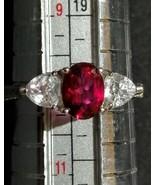 925 Sterling Silver Ruby & Diamond Three-Stone Engagement Ring- Sz. 10 - $118.77