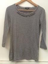 Gap Womens Striped Shirt Gray Black 3/4 Sleeve Knit Top Beaded Detail S ... - $13.95