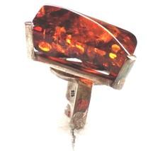 Large Vintage Modernist Sterling Silver Genuine Baltic Amber Ring S 8 - $148.49