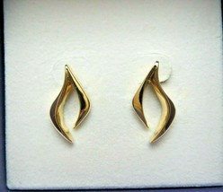 14k Yellow Gold Earrings Pierced Post 22mm Smooth Modernistic 4.54 Grams... - $325.70