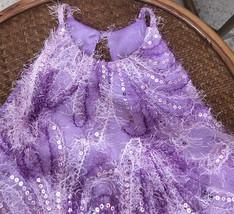 Women Halter Neck SEQUIN TOPS Sleeveless Sequined Party Tops Purple Retro Style  image 5