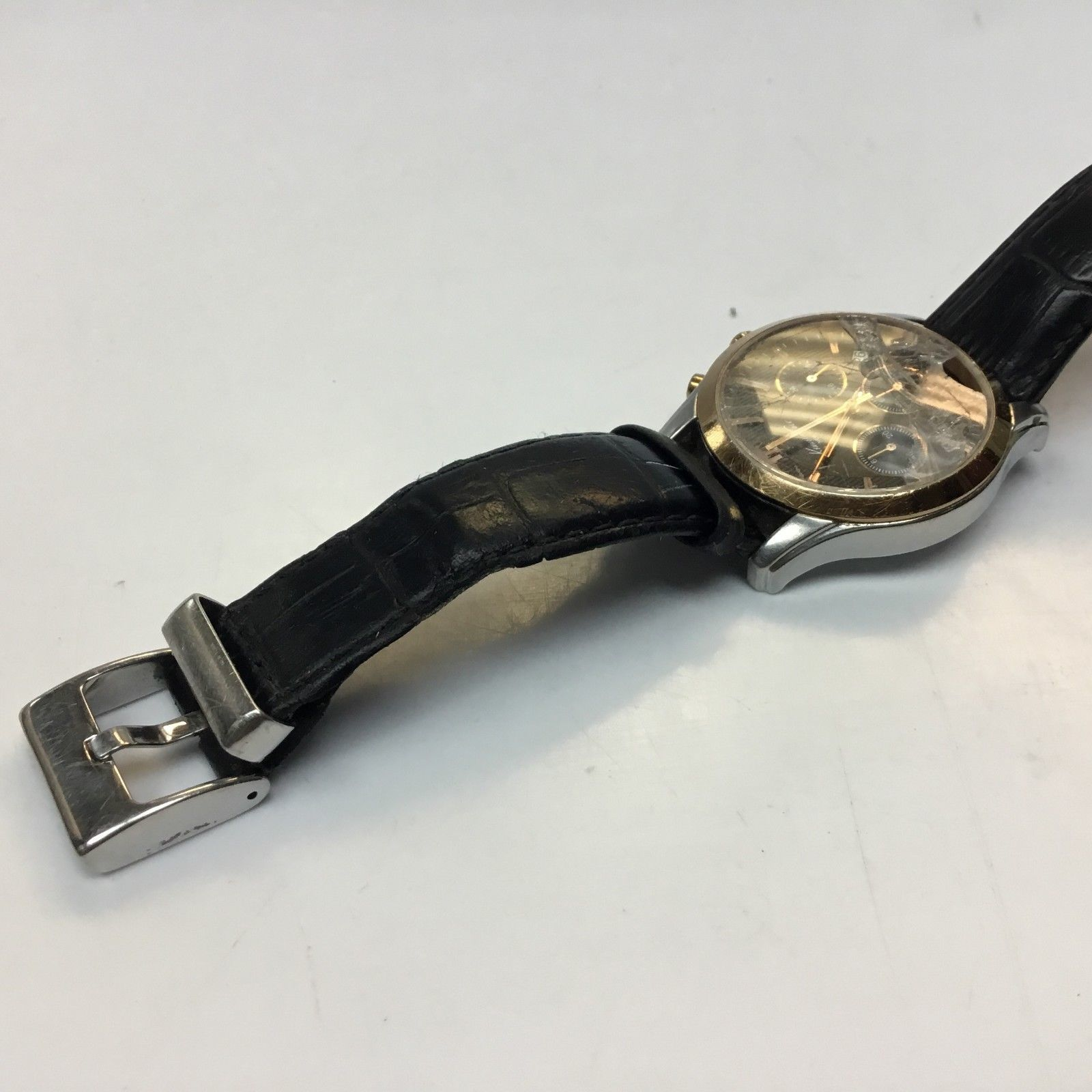$160 Kenneth Cole KC1502 Gold Silver Tone Black Dial Leather Band Men's Watch