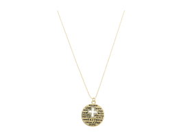 Cross Cut Out Inspirational Engraved Medallion Necklace - $11.95