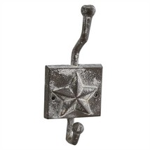 Primitive Star Cast Single Wall Hook Whitewashed Tin - $34.22