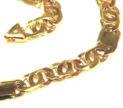 """SOLID 18K YELLOW WHITE GOLD CHAIN TIGER EYE ALTERNATE 3+1 FLAT LINKS 5.5mm, 24"""" image 2"""
