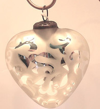 "Beautiful 5""Glass White Heart Frosted Mercury Scroll-Valentine's Day - $12.34"
