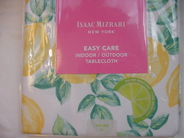 "Isaac Mizrahi Yellow Lemons on White Indoor/Outdoor Tablecloth 70"" Round - $33.00"