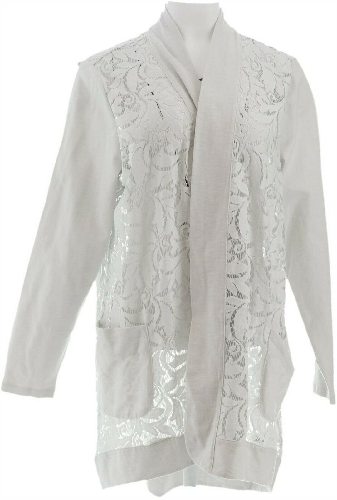 Primary image for LOGO Lori Goldstein Open Front Slub Cardigan Lace White Birch L NEW A274095