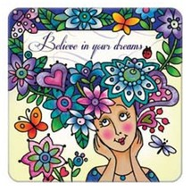 Believe in Your Dreams Hand Painted Art Glass Refrigerator Fridge Magnet - $12.62