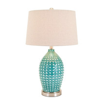 Adaline Ceramic Table Lamp, White & Blue - Benzara - $213.40