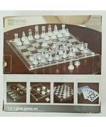 JCPenny Home Collection 5 in 1 Glass Game Set Chess Checkers Backgammon - $41.85