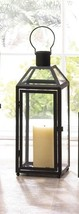 Medium Chic Midtown Black Candle Lantern Clear Glass Panels Slanted Glas... - $27.11