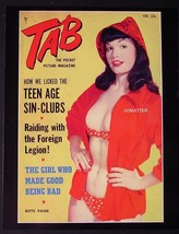 "BETTIE PAGE 8.5""X11"" 2-SIDED PIN-UP TAB MAGAZINE PHOTO SEXY RED POLKA-DO... - $7.84"
