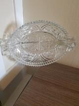 Vintage Anchor Hocking Pressed Glass Divided Dish - $11.95