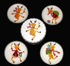 4 Colorful Whimsical Santa Reindeer Thick Salad Plates 4 Poses Stripe Bo... - $24.99