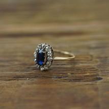 1.75 Ct Blue Sapphire & Diamond Halo Cluster Engagement Ring 14k Yellow ... - $74.70