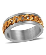 Men's Gents Stainless Steel and Gold Spinner Ring  size 12  Spinner - $87.25