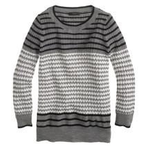 J. Crew Merino Tippi Sweater in Mixed Stitch Grey Gray Chevron 3/4 Sleeve XS - $47.49