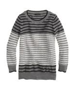 J. Crew Merino Tippi Sweater in Mixed Stitch Grey Gray Chevron 3/4 Sleev... - $47.49